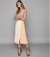 reiss abigail - pleated midi skirt in nude, womens, size 10