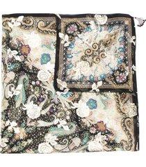 etro surrealistic garden print tassel detail scarf - black
