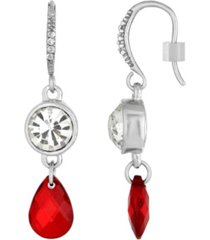2028 silver-tone red drop earring