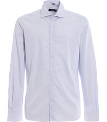 fay light blue stripe cotton poplin shirt