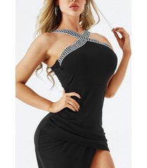 vestido sin mangas sin mangas con dobladillo con aberturas y diseño sin espalda negro de yoins