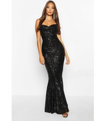 all over embellished fishtail maxi dress, black