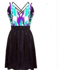 vestido falda en a sarab negro-lila