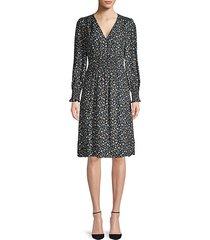 zelma floral silk fit-&-flare dress