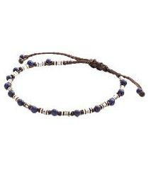 jos. a. bank lapis & aniqued silver corded bracelet