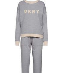 dkny new signature l/s top & jogger pj pyjamas grå dkny homewear