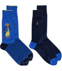 polo ralph lauren men's bermuda bear socks 2-pack