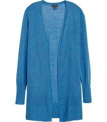 women's halogen side slit cardigan, size medium - blue