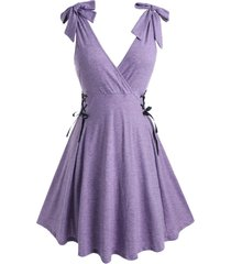 plus size tie shoulder lace up surplice dress