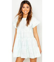 broderie anglaise smock dress, mint