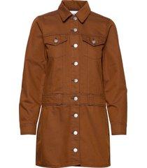 mixed denim korte jurk bruin ganni