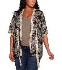 belldini black label plus size palm print open front kimono sleeve cardigan
