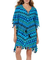 printed self-tie cotton coverup