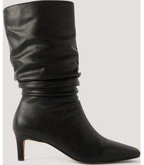 na-kd shoes boots med fyrkantig tå - black