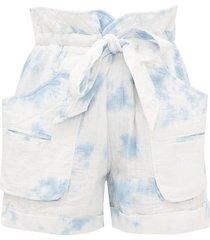 belize tie-dye cotton-blend wide-leg shorts
