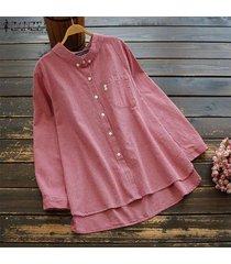 zanzea mujeres solapa botones camisa con tops asimétricos de gran tamaño de la blusa de la raya -rojo