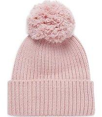 rib-knit & faux fur pom-pom beanie