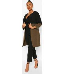 plus colour block duster jas met driekwartsmouwen, kaki