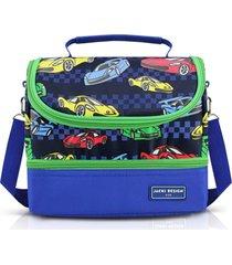 lancheira térmica com 2 compartimentos infantil carro jacki design sapeka azul