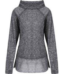stylish long sleeve cowl neck spliced women's sweatshirt