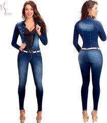 enterizo manga larga con faja interna lowla 268217 - denim compression jumpsuit