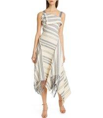 women's monse foldover neck fringe cotton blend midi dress, size 2 - ivory