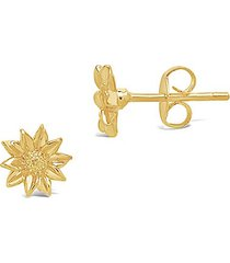 14k yellow goldplated sunflower stud earrings