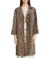 women's ganni leopard print linen & cotton coat, size 4 us - brown