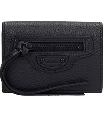 balenciaga neo classic wallet in black leather