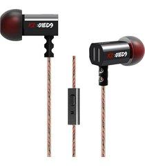 audifonos profesionales kz ed9 hi-fi con microfono negro