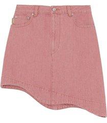 pink denim high-waisted asymmetrical mini skirt