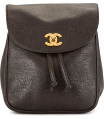 chanel pre-owned 1995 cc chain drawstring backpack - brown