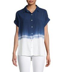 beach lunch lounge women's spencer tie-dye shirt - blue tie dye - size s