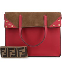 fendi flip small leather and suede handbag