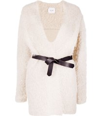 alysi belted mohair cardigan - neutrals