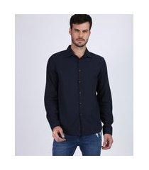 camisa masculina tradicional manga longa azul marinho