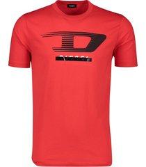 diesel t-shirt ronde hals rood logo katoen