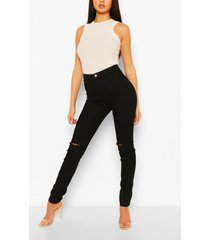 high rise siper skinny ripped knee jeans, black