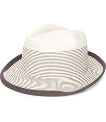 peserico striped-stitch trilby hat - white