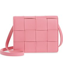 women's bottega veneta intrecciato leather wallet on a strap - pink