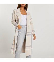 river island womens cream check duster jacket