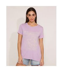 "camiseta courage inside"" manga curta decote redondo lilás"""