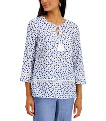 charter club cotton printed tie-neck top, created for macy's