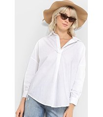 camisa lez a lez tricone corte v manga longa feminina