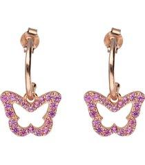 orecchini a cerchio con farfalla in argento rosato e zirconi rosa per donna
