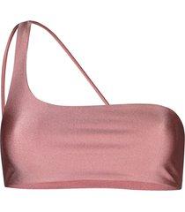jade swimwear one shoulder bikini top - pink