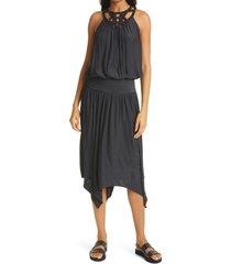 women's ramy brook ruthie stud detail neckline halter dress, size large - black