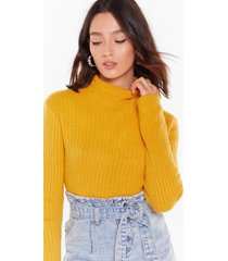 womens knit was worth knit ribbed high neck sweater - mustard