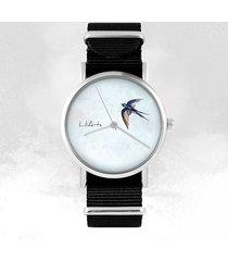 zegarek - jaskółka - czarny, nylonowy
