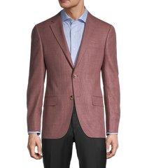 hickey freeman men's milburn ii regular-fit wool jacket - burgundy - size 46 r